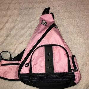 Pink crocs cross body bag